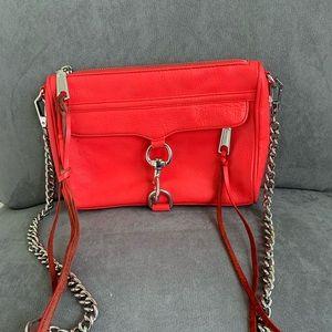 Rebecca Minkoff orange leather chain crossbody